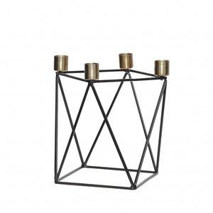 Hubsch kandelaar, metaal, zwart en goud, 4 kaarsen, 22 x 14 x 20 cm
