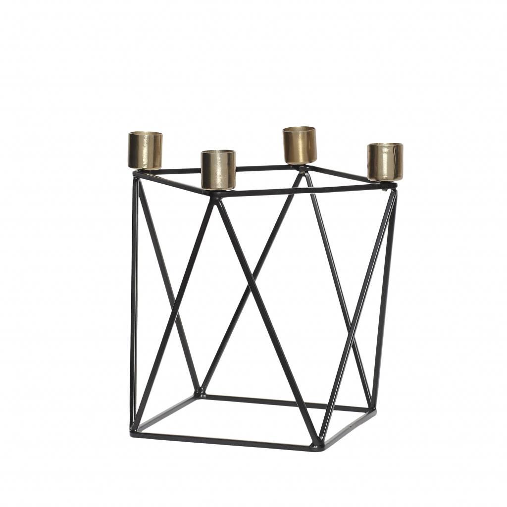Hubsch kandelaar, metaal, zwart en goud, 4 kaarsen, 22 x 14 x 20 cm-670102-5712772049068