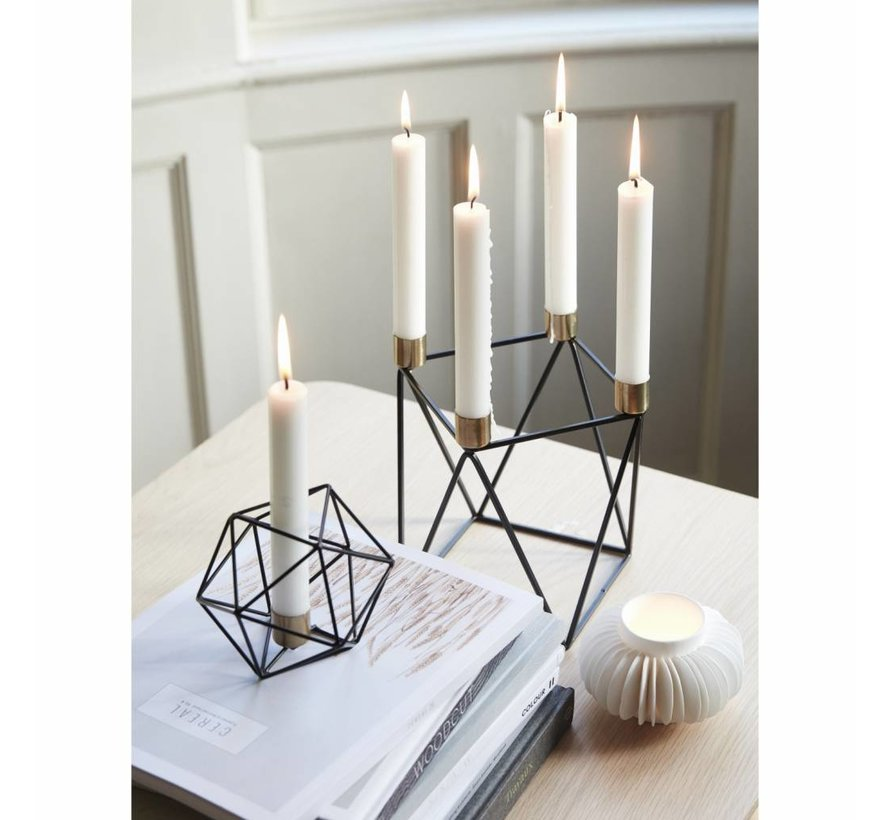 kandelaar, metaal, zwart en goud, 4 kaarsen, 22 x 14 x 20 cm