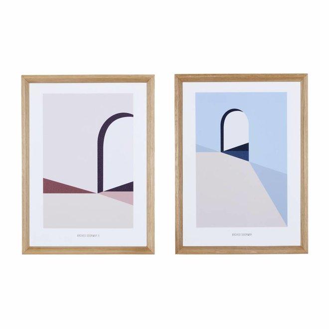 fotolijst, eikenhout, bruin, met afbeelding, 30 x 42 cm - set van 2