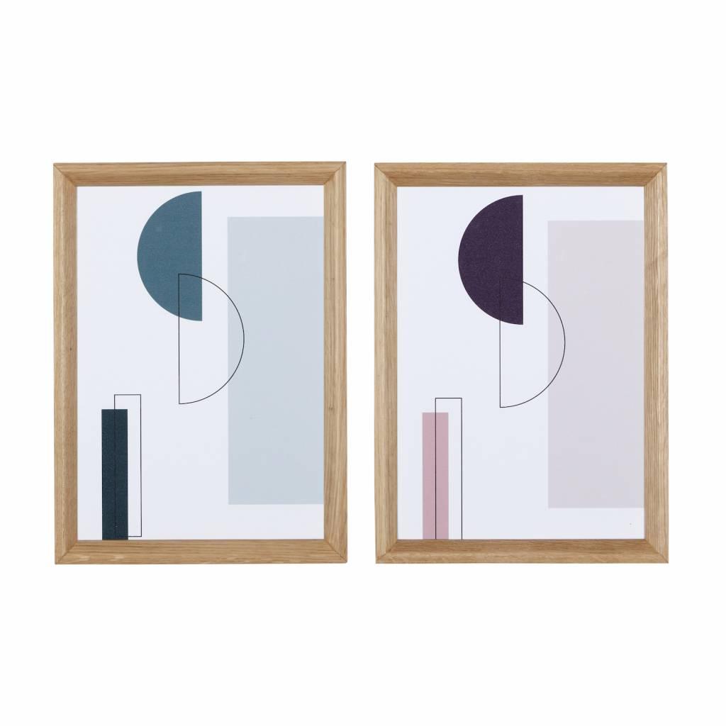 Hubsch fotolijst, eikenhout, bruin, met afbeelding, 21 x 30 cm - set van 2