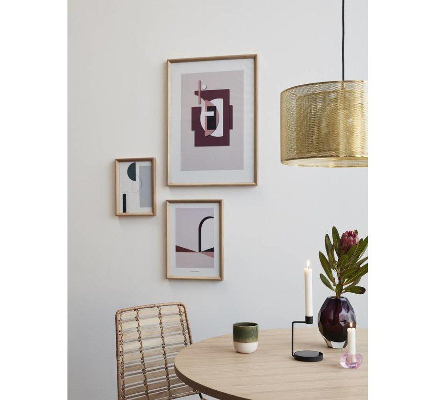 fotolijst, eikenhout, bruin, met afbeelding, 21 x 30 cm - set van 2