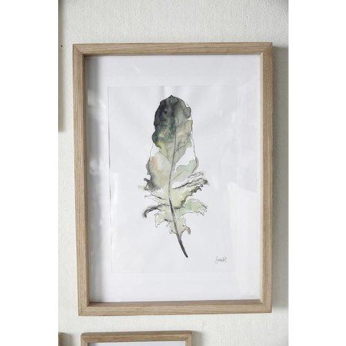 Hubsch fotolijst, eikenhout, bruin, met afbeelding, 35 x 50 cm