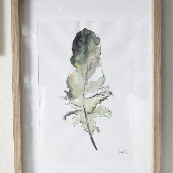 Hubsch fotolijst, eikenhout, bruin, met afbeelding, 35 x 50 cm - 889040