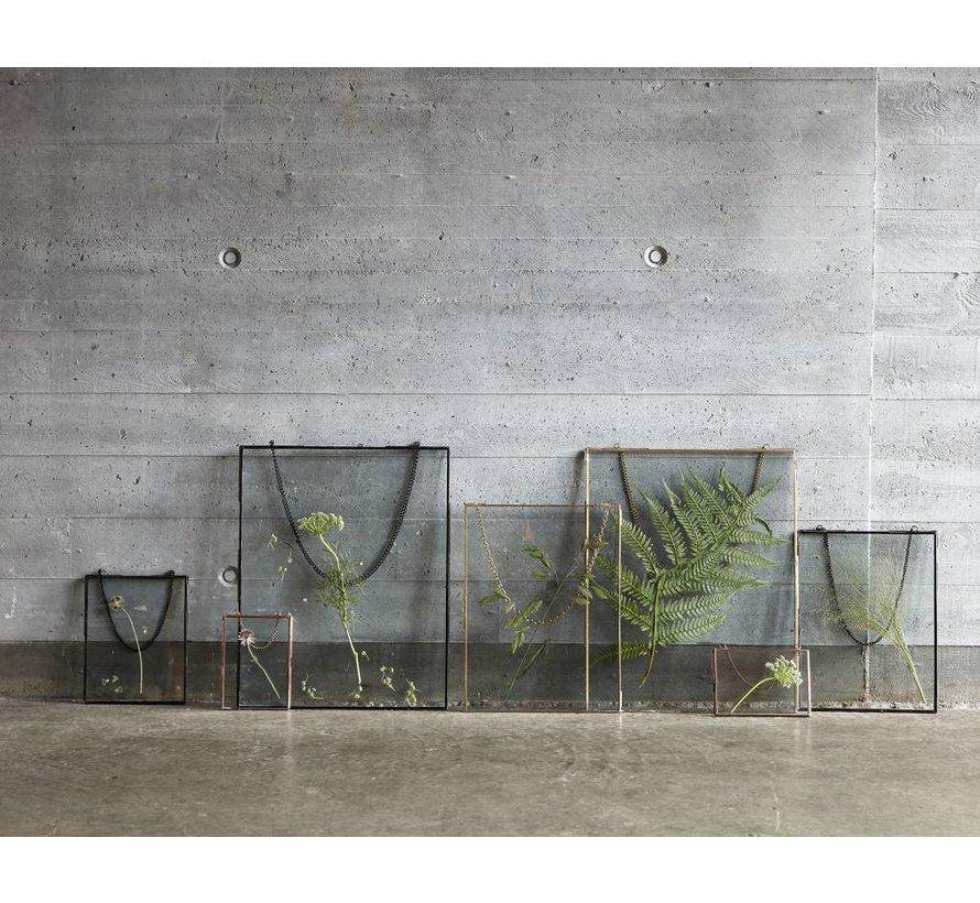 fotolijst hangend, metaal en glas, goud/messing, ketting, 20 x 25 en 27 x 35 cm, set van 2