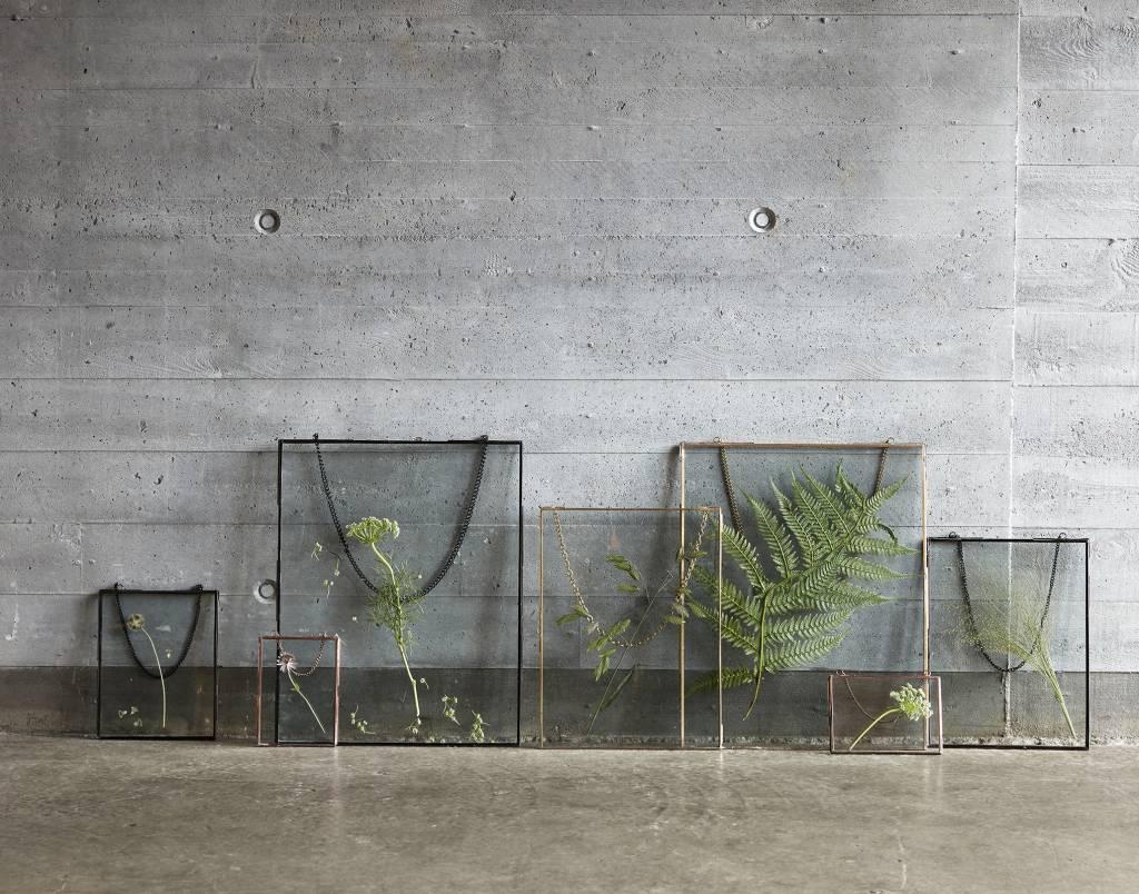 Hübsch Fotolijst Hangend, metaal en Glas, Goud/messing, Ketting, 20 x 25 en 27 x 35 cm, Set van 2. Hubsch 670302