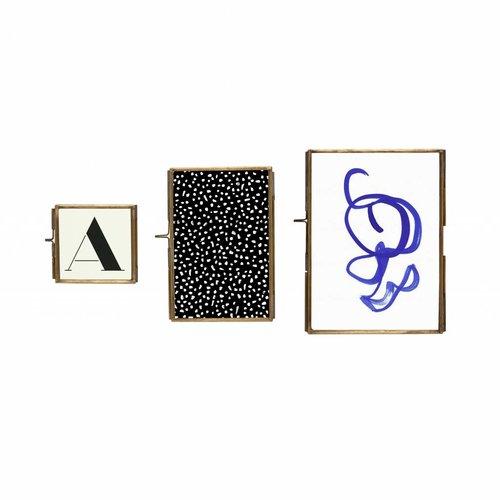 Hubsch fotolijst, metaal (messing) en glas, goud, 8 x 8, 10 x 15, 13 x 18 cm, set van drie