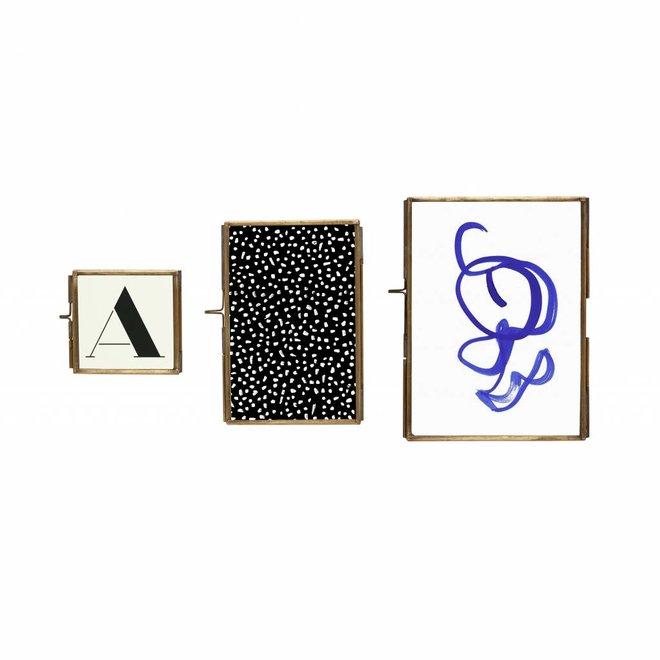 fotolijst, metaal (messing) en glas, goud, 8 x 8, 10 x 15, 13 x 18 cm, set van drie