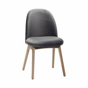 Hubsch stoel - velours en hout - donkergrijs - 48 x 48 x 84 cm - set van 2