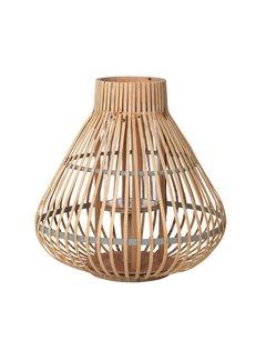 Broste Copenhagen windlicht Aza, bamboe en glas, bruin en grijs,  ø35 x 35 cm
