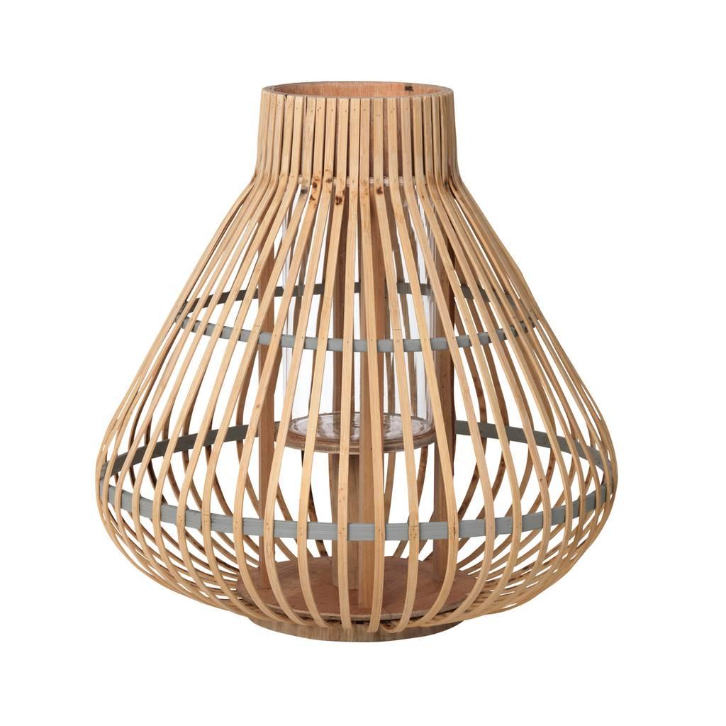 Broste Copenhagen windlicht Aza, bamboe en glas, bruin en grijs,  ø35 x 35 cm-14590711-5710688086276