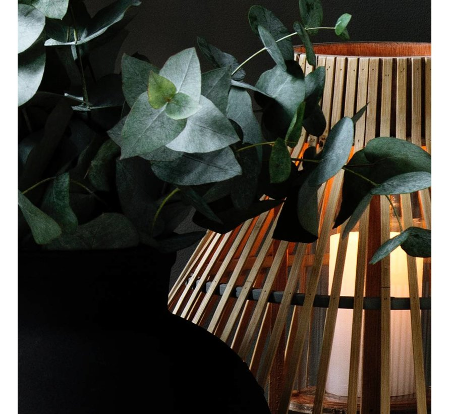 windlicht Aza, bamboe en glas, bruin en grijs,  ø35 x 35 cm