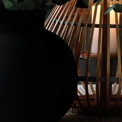 Broste Copenhagen windlicht Aza, bamboe en glas, bruin en grijs,  ø35 x 35 cm. Broste Copenhagen 73356002