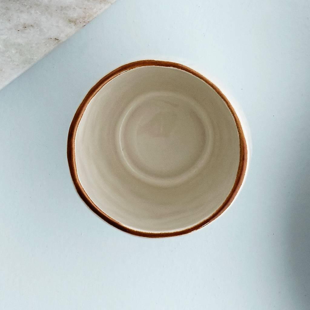 Broste Copenhagen beker Hessian espresso - crème/bruin aardewerk - 100 ml - set van 6