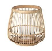 Broste Copenhagen windlicht Cait, bamboe en glas, bruin, ø31 x 29 cm