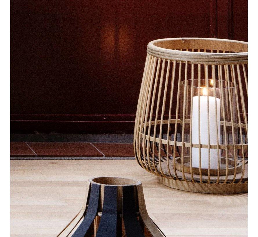 windlicht Cait, bamboe en glas, bruin, ø31 x 29 cm