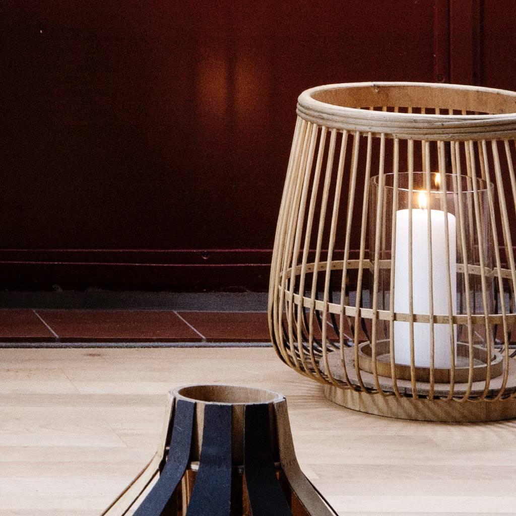 Broste Copenhagen Windlicht Cait, bamboe en glas, bruin, ø31 x 29 cm-14590663-5710688086146