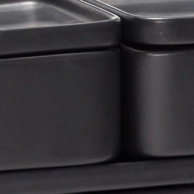 Hubsch opbergpot - aardewerk (keramiek) -  zwart - 12 x 7 en 24 x 7 cm - set van 3 - 020405