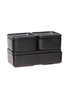 Hubsch opbergpot - aardewerk (keramiek) -  zwart - 12 x 7 en 24 x 7 cm - set van 3. Hubsch 63562796