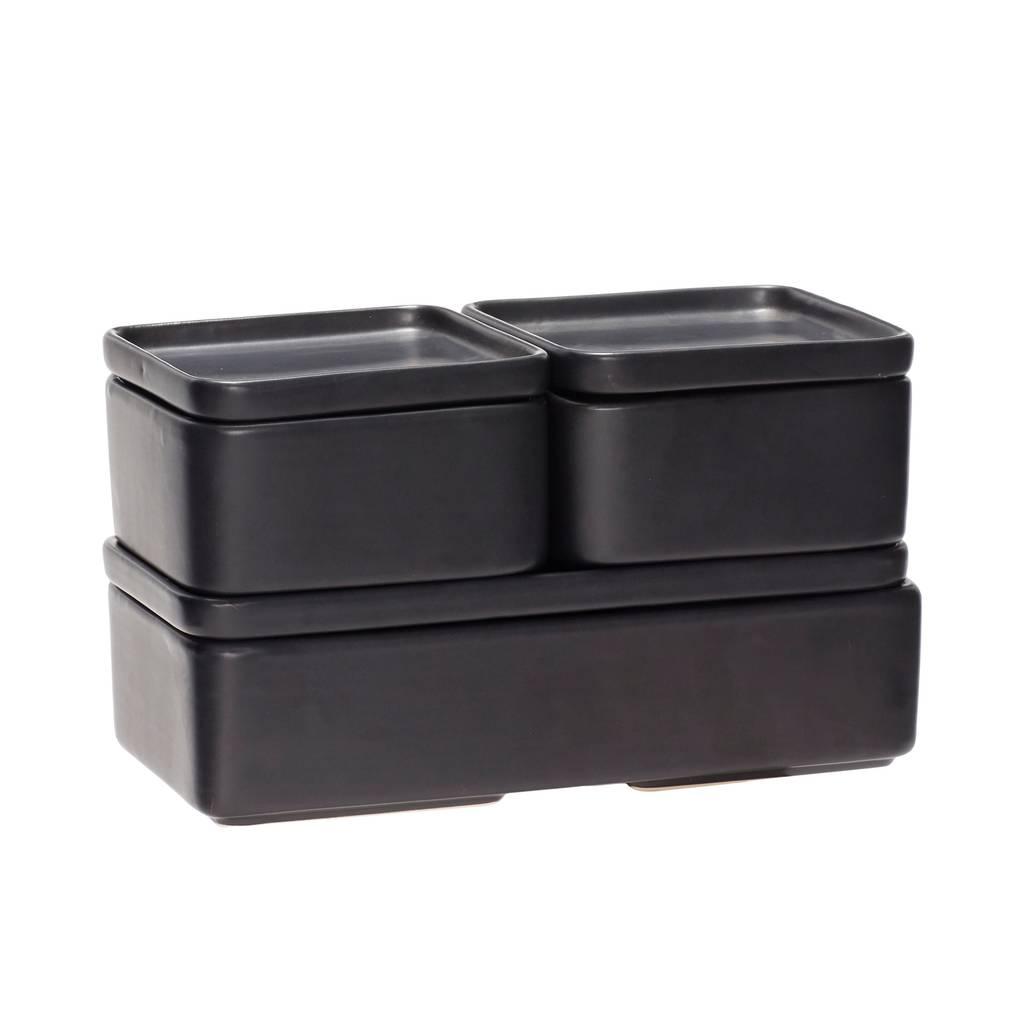 Hubsch opbergpot - aardewerk (keramiek) -  zwart - 12 x 7 en 24 x 7 cm - set van 3