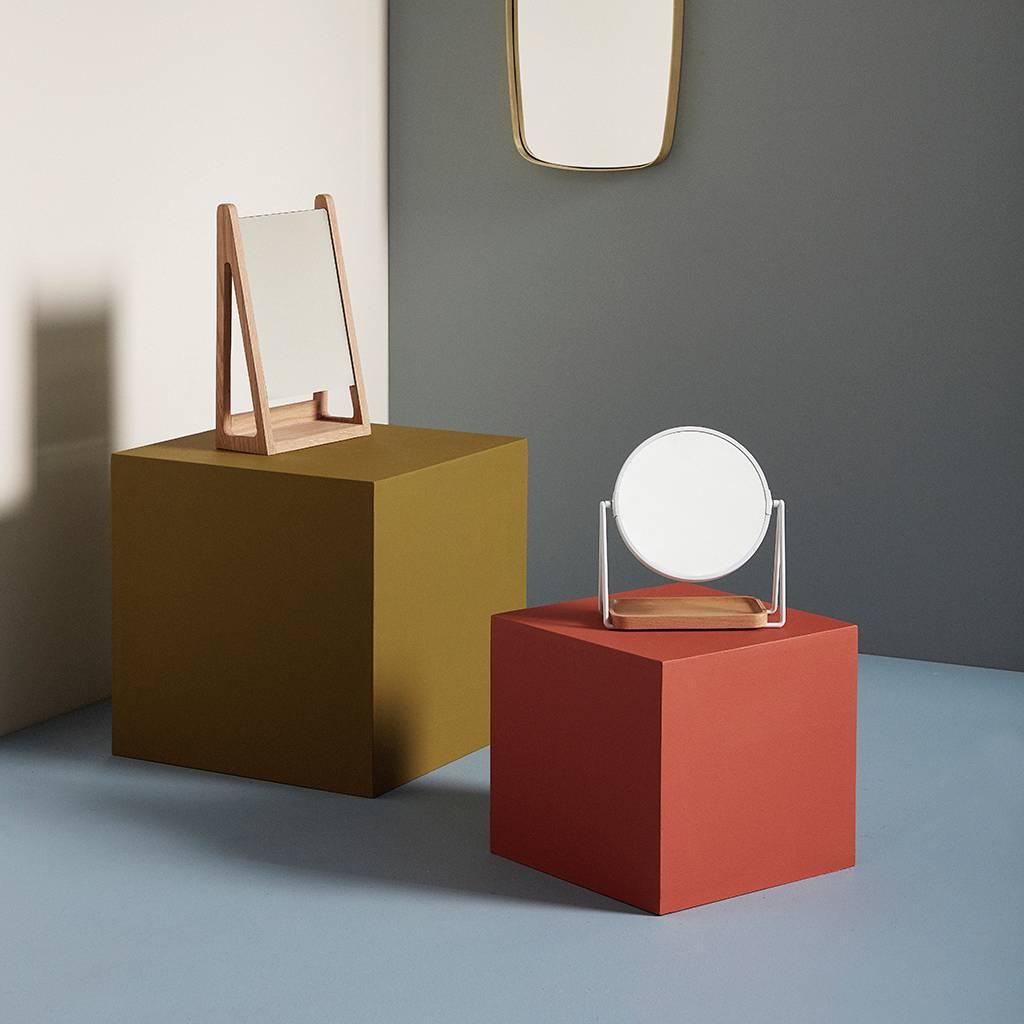 Hubsch tafelspiegel met opbergvak - metaal en beukenhout - wit - 21 x 10 x 25 cm-210506-5712772061558