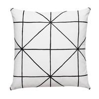 sierkussen met patroon - zwart en wit - katoen - inclusief vulkussen - 50 x 50 cm