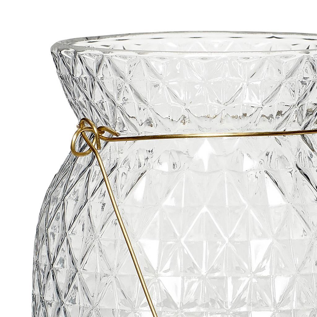 Hubsch waxinelichthouder met hengsel - glas en  goudkleurig metaal - ø12 x 15 cm-540115-5712772050392