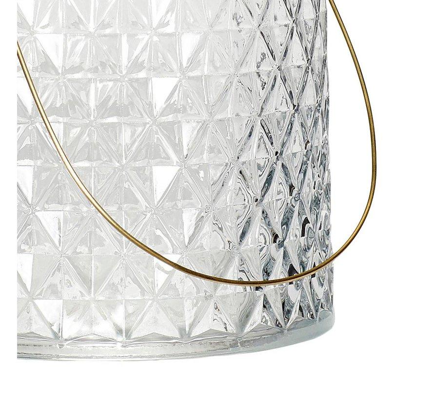 waxinelichthouder met hengsel - glas en  goudkleurig metaal - ø12 x 15 cm