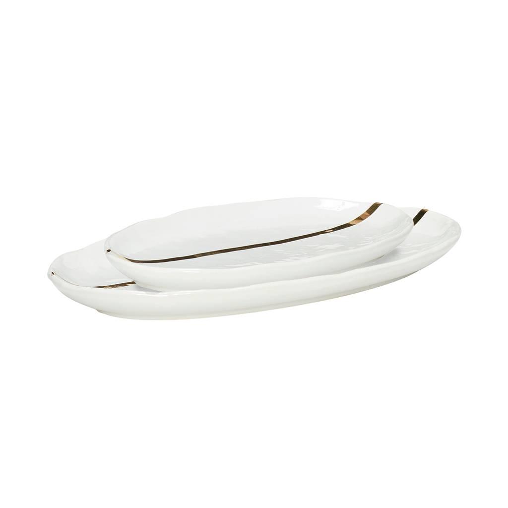 Hubsch serveerschaal - wit/goud porselein  - set van 2