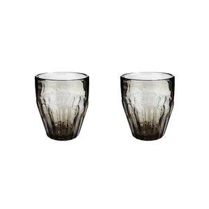 Hubsch glas met groeven - grijs glas met belletjes - ø9 x 10 cm - set van 2