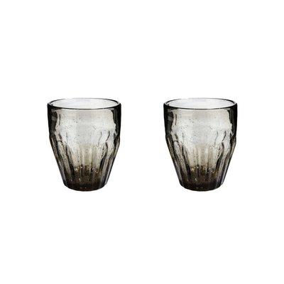 Hubsch glas met groeven - grijs glas met belletjes - ø9 x 10 cm - set van 2. Hubsch 74928950