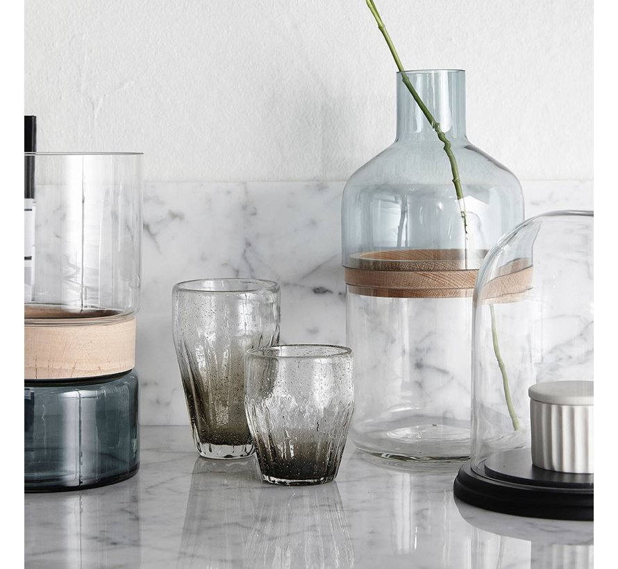 glas met groeven - grijs glas met belletjes - ø9 x 10 cm - set van 2