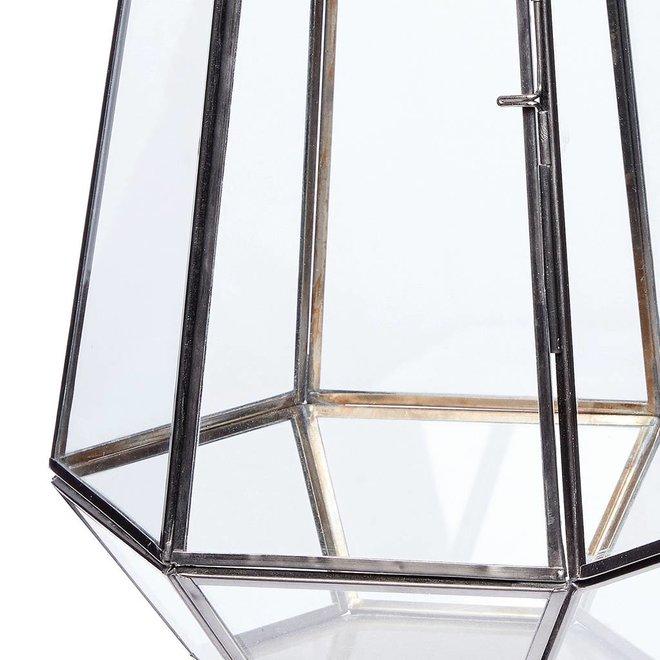 Hubsch windlicht hexagon - zwart metaal en glas - ø21 x 31 cm - 670335
