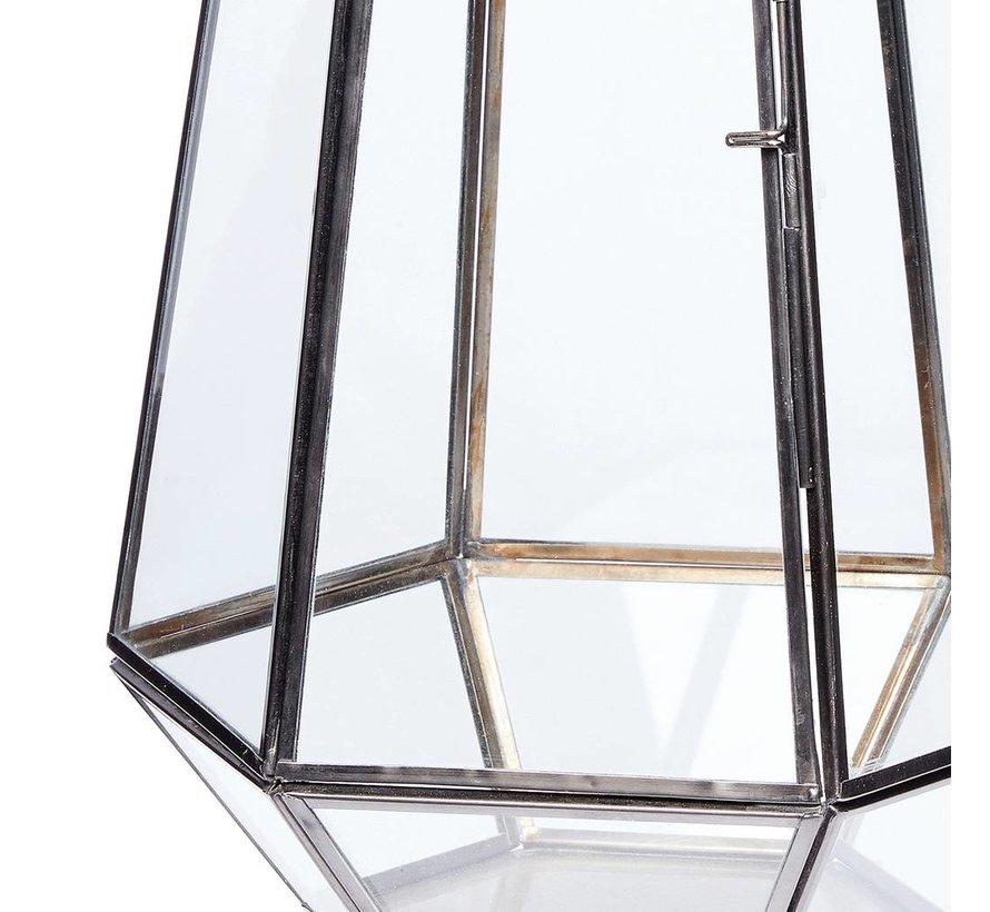 windlicht hexagon - zwart metaal en glas - ø21 x 31 cm