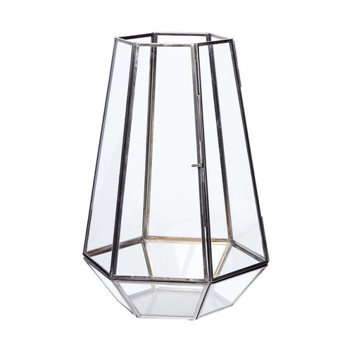 Hubsch windlicht hexagon - zwart metaal en glas - ø21 x 31 cm