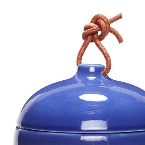 Hubsch opbergpot met deksel - wit/blauw aardewerk - ø12 x 13 & ø12 x 17 cm - set van 2