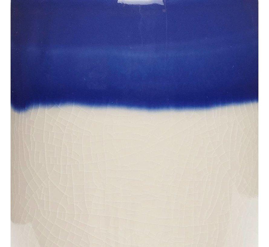 opbergpot met deksel - wit/blauw aardewerk - ø12 x 13 & ø12 x 17 cm - set van 2