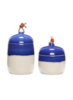 Hubsch opbergpot met deksel - wit/blauw aardewerk - ø12 x 13 & ø12 x 17 cm - set van 2. Hubsch 74973887