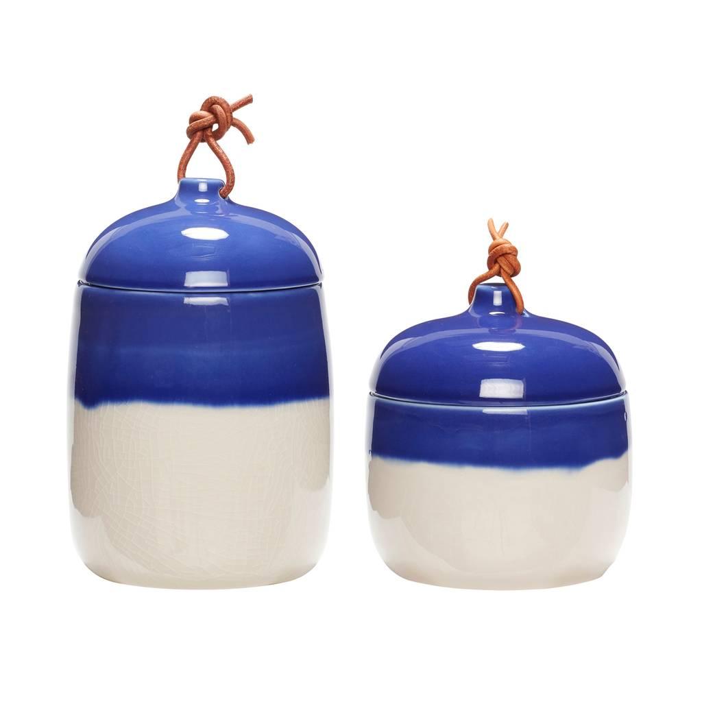 Hubsch opbergpot met deksel - wit/blauw aardewerk - ø12 x 13 & ø12 x 17 cm - set van 2-800402-5712772058442