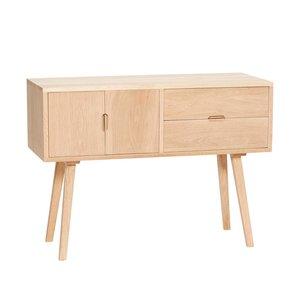 Hubsch dressoir met lades en deur - blank eikenhout - 100 x 40 x 70 cm