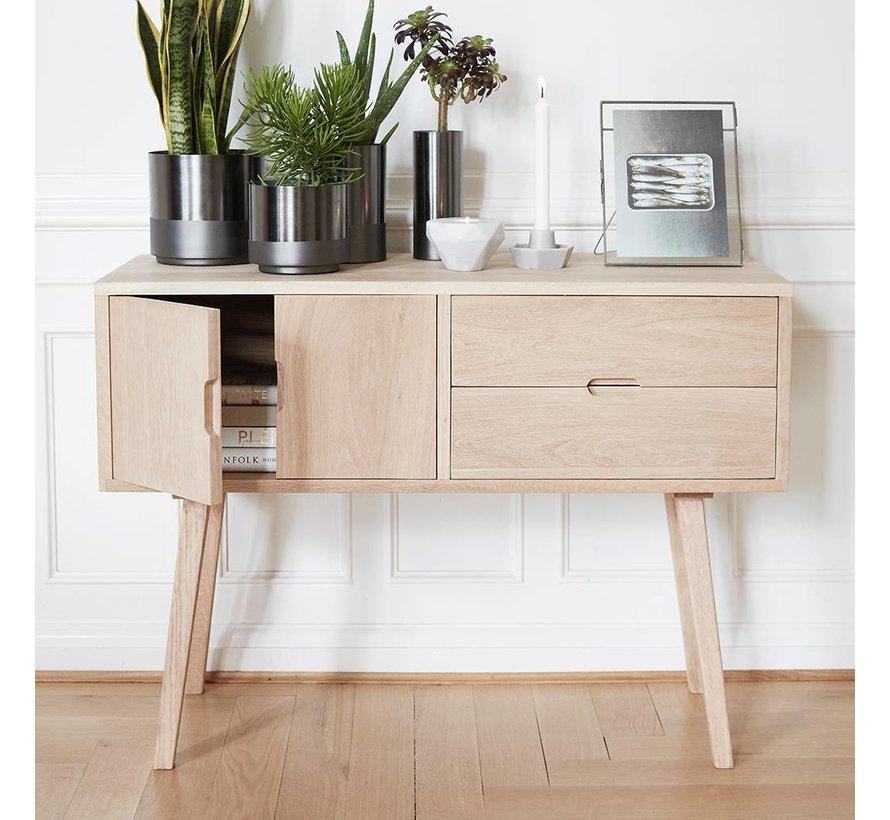dressoir met lades en deur - blank eikenhout - 100 x 40 x 70 cm