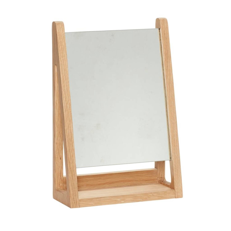 Blank Houten Spiegel.Hubsch Tafelspiegel Make Up Spiegel Blank Eikenhout 22 X 9 X 32