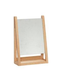 Hubsch tafelspiegel / make-up spiegel - blank eikenhout - 22 x 9 x 32