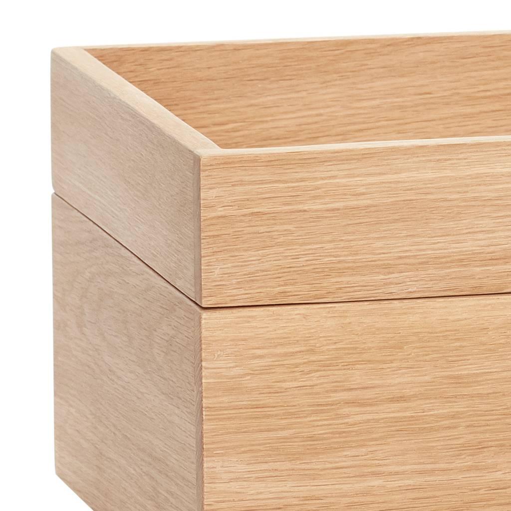 Hubsch papierhouder/organizer - blank eikenhout - 35 x 24 x 5 & 35 x 24 x 10 cm - set van 2-880511F-5712772106044