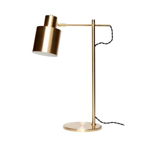 Hubsch tafellamp / bureaulamp met verstelbare kap - goudkleurig messing (metaal) - E27/40W - ø38 x 56 cm