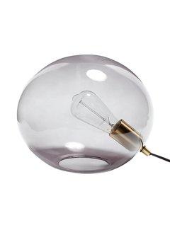 Hubsch tafellamp bol - grijs glas en goud messing (metaal) - E27/40W - ø31 x 24 cm. Hubsch 75000959