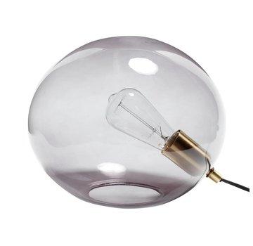 Hubsch tafellamp bol - grijs glas en goud messing (metaal) - E27/40W - ø31 x 24 cm
