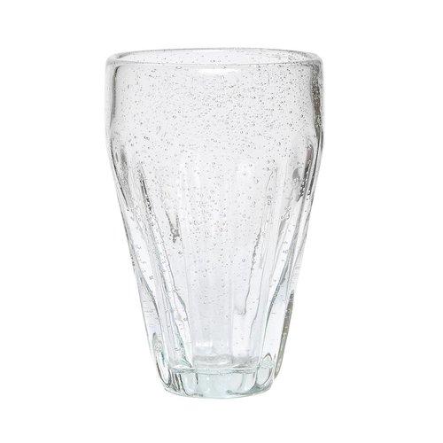 Hubsch drinkglas met groeven - glas met belletjes - ø6 x 14 cm - set van 4