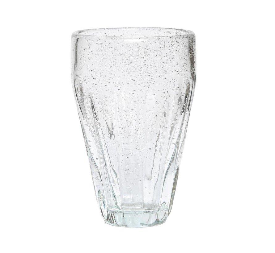 drinkglas met groeven - glas met belletjes - ø6 x 14 cm - set van 4