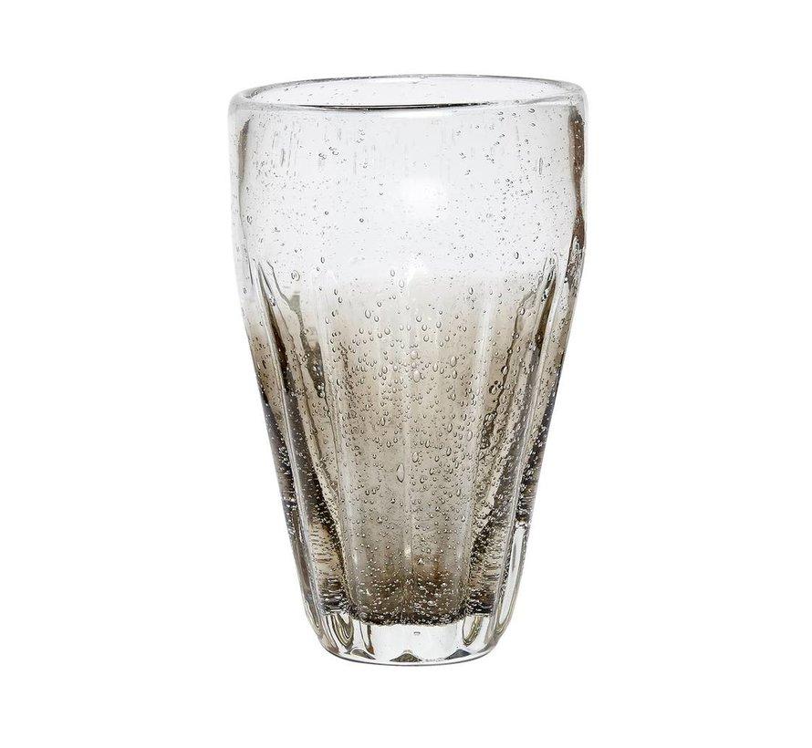 drinkglas met groeven - grijs glas met belletjes - ø6 x 14 cm - set van 4